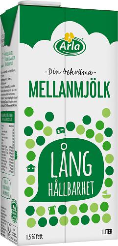 Arla® Mellanmjölk m lång hållbarhet 1,5%